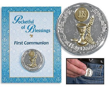 First Holy Communion Two Tone Gold Silver Plate Purse Wallet Pocket Coin Token