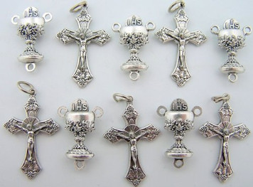 Rosary Repair Kit Chalice Communion Cup Centerpiece and Silver Tone Cross Crucifix Lot 5 Each