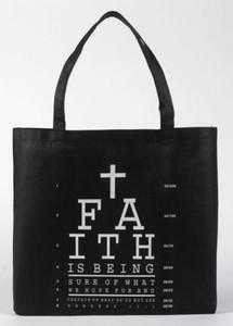 "Faith Eye Chart with Cross Hebrews 11:1 Bible Scripture 13"" Black Nylon Tote Bag"