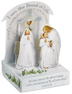 "I am the Bread of Life First Communion Gift 3D Stand Up 4"" Decoration with Stickers"