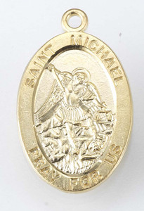 Gold over Sterling Silver Oval St. Michael Medal