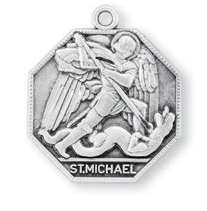 Sterling Silver Octagon Shaped St. Michael Medal