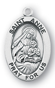 Sterling Silver Oval Shaped St. Anne Medal