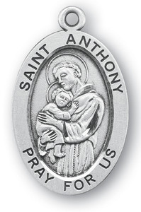 Sterling Silver Oval Shaped St. Anthony Medal