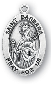 Sterling Silver Oval Shaped St. Barbara Medal
