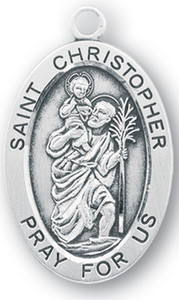 Sterling Silver Oval Shaped St. Christopher Medal