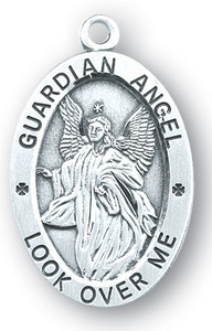 Sterling Silver Oval Shaped Guardian Angel Medal
