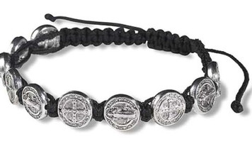 "Saint St Benedict of Nursia Silver Tone Medal 8"" Adjustable Black Cord Wrist Bracelet"