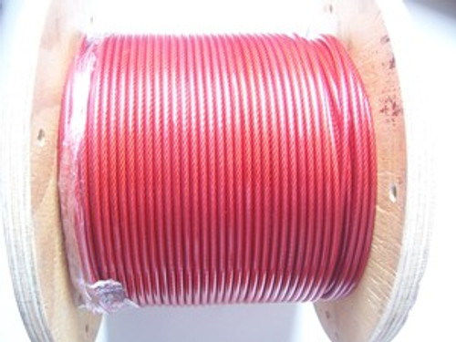 RED Vinyl Coated Stainless Steel Wire Rope, 1/8\