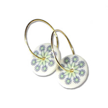 Purple & Green Snow Flake Porcelain Creole Earrings