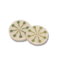 Green Star Porcelain Creole Earrings
