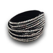 Rhinestone Bracelet with 6 Rows - Silver Crystals on Black
