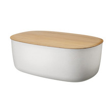 Bread Box with Integrated Cutting Board in White.