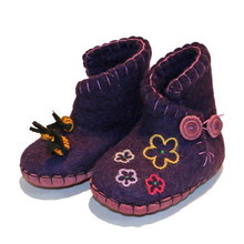 Hand Felted Toddler Slippers in Purple with Flowers and Bees
