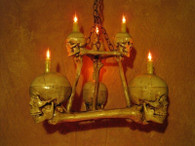 TWO TIERED SKULL CHANDELIER WITH 6 SKULLS