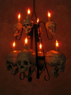 TWO TIERED SKULL / METAL CHANDELIER WITH EIGHT LIGHTS