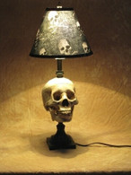 Desk Lamp with Life-size Skull and Antique shade