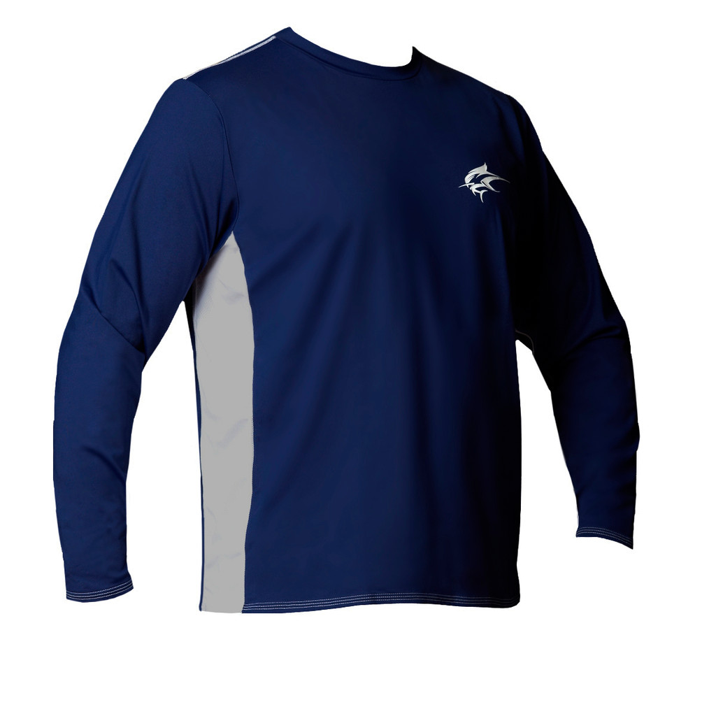 Ocean Rider Sun Protective Clothing | Men's Performance UPF 50 Side Vented Shirt | Navy | Front | Made in USA
