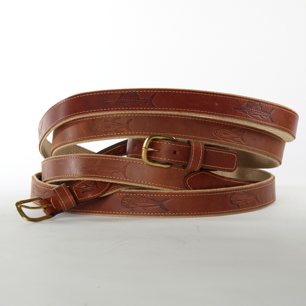 Ocean Rider Handmade Leather Embossed Belts with Fish Design