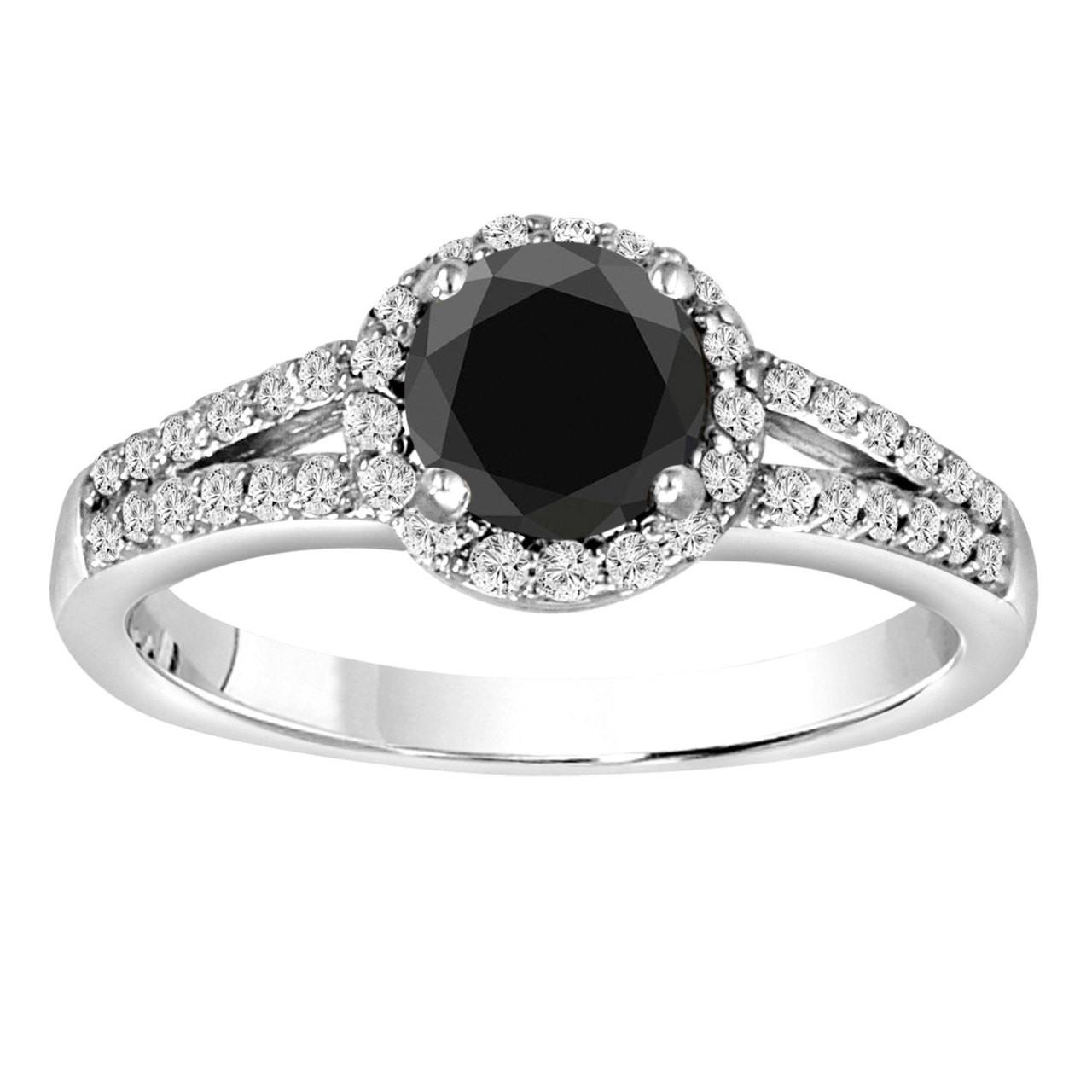 Fancy Black Diamond Engagement Ring 14K White Gold Halo 1 ...