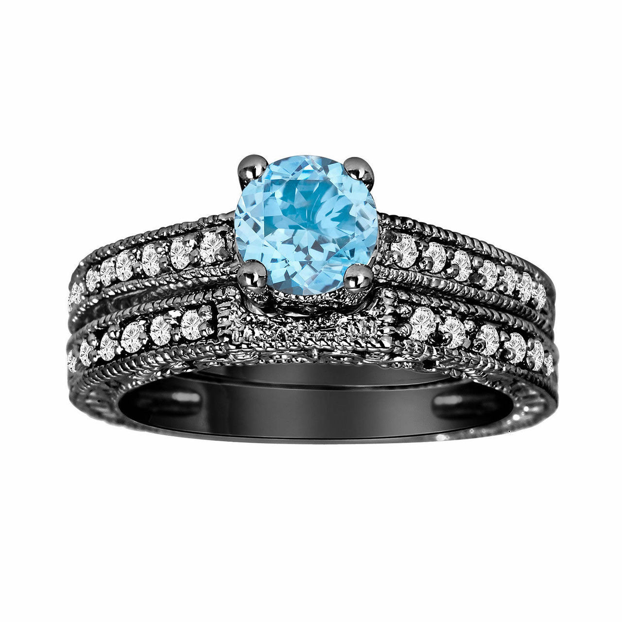 Blue Topaz & Diamond Engagement Ring And Wedding Anniversary Diamond Band