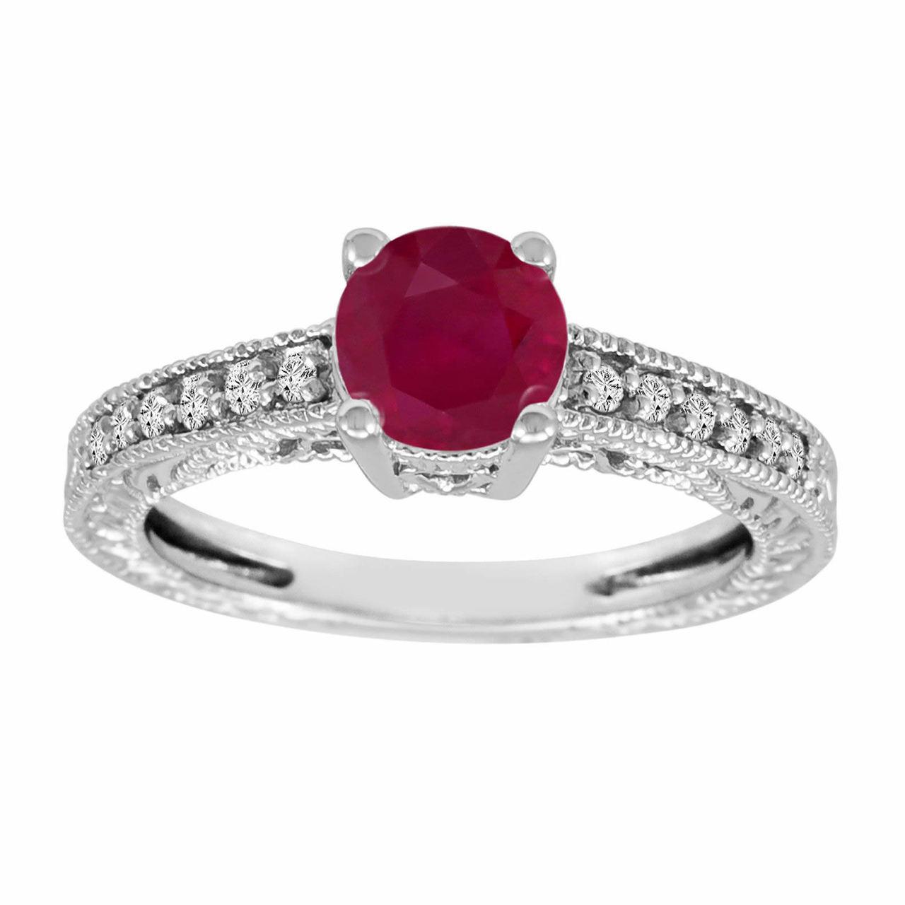 14k white gold 1 14 carat ruby engagement ring
