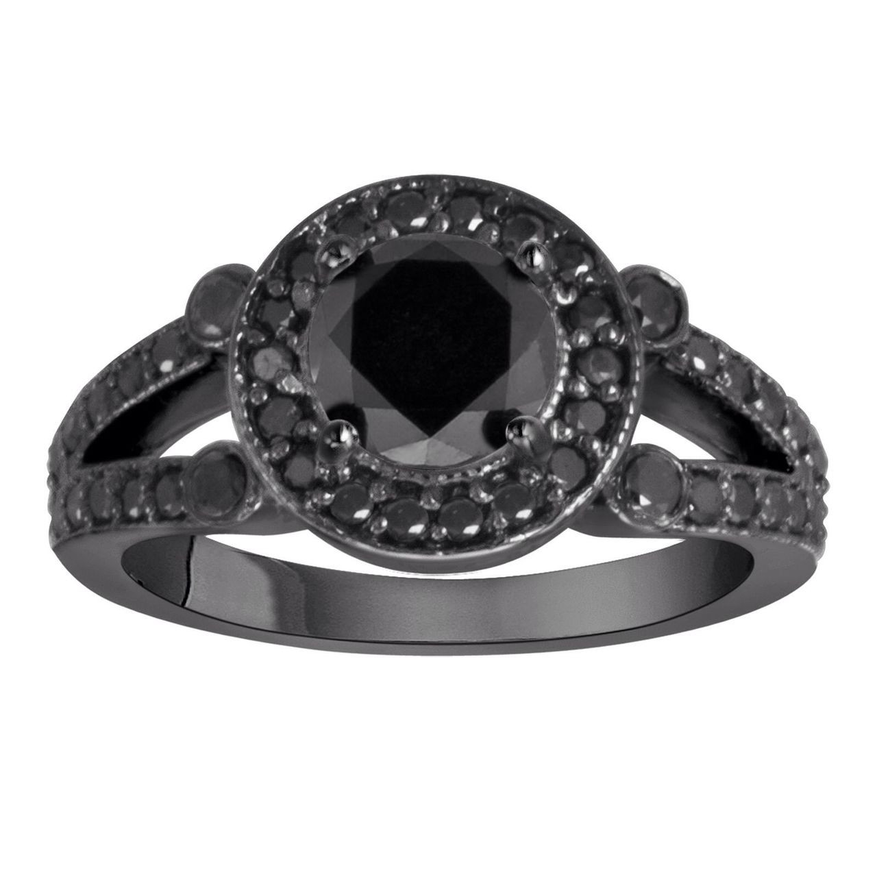 black engagement ring 14k black gold 1 60 carat