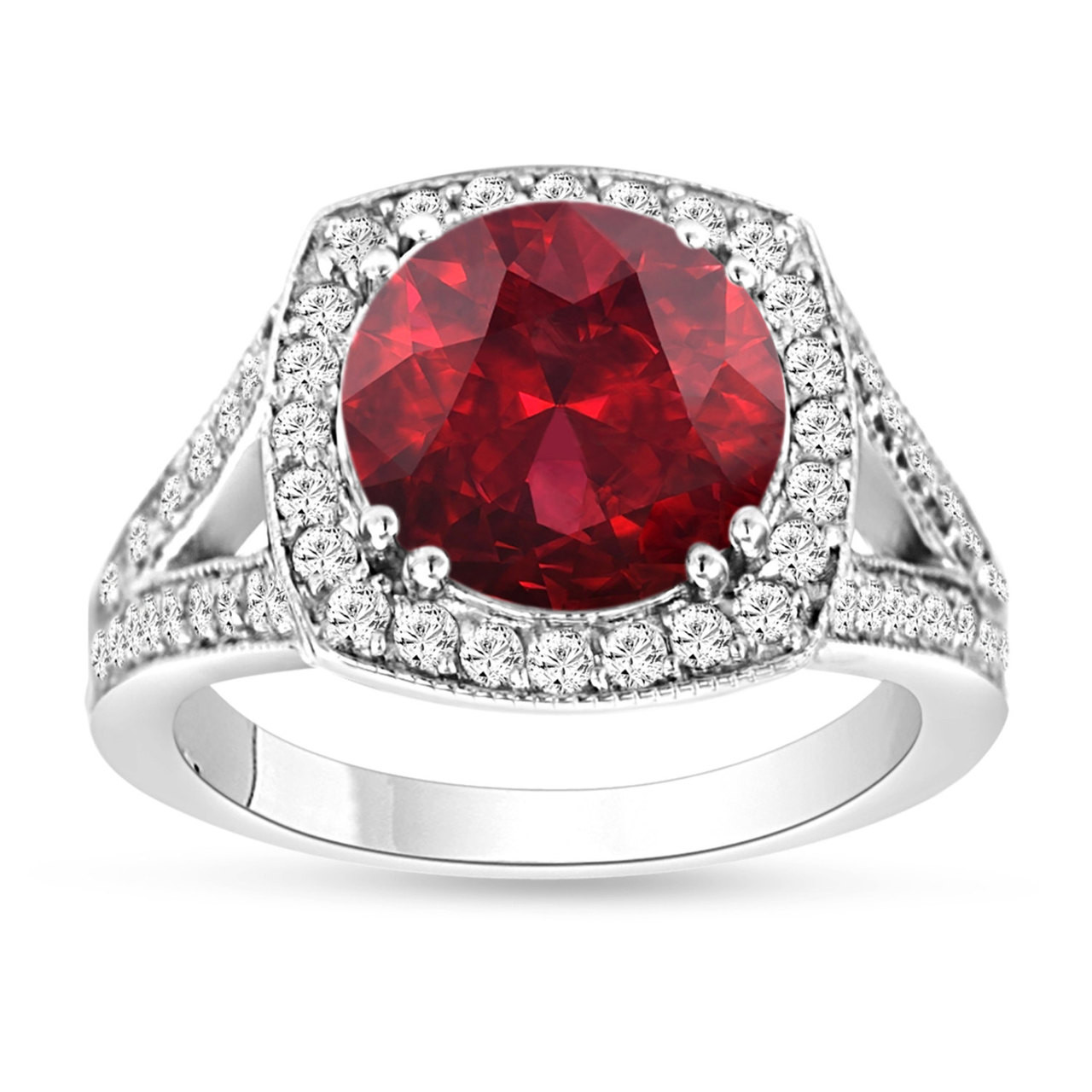 Garnet & Diamond Engagement Ring 14k White Gold 335 Carat Pave Set  Handmade Certified Birthstone Huge Halo $1,90000