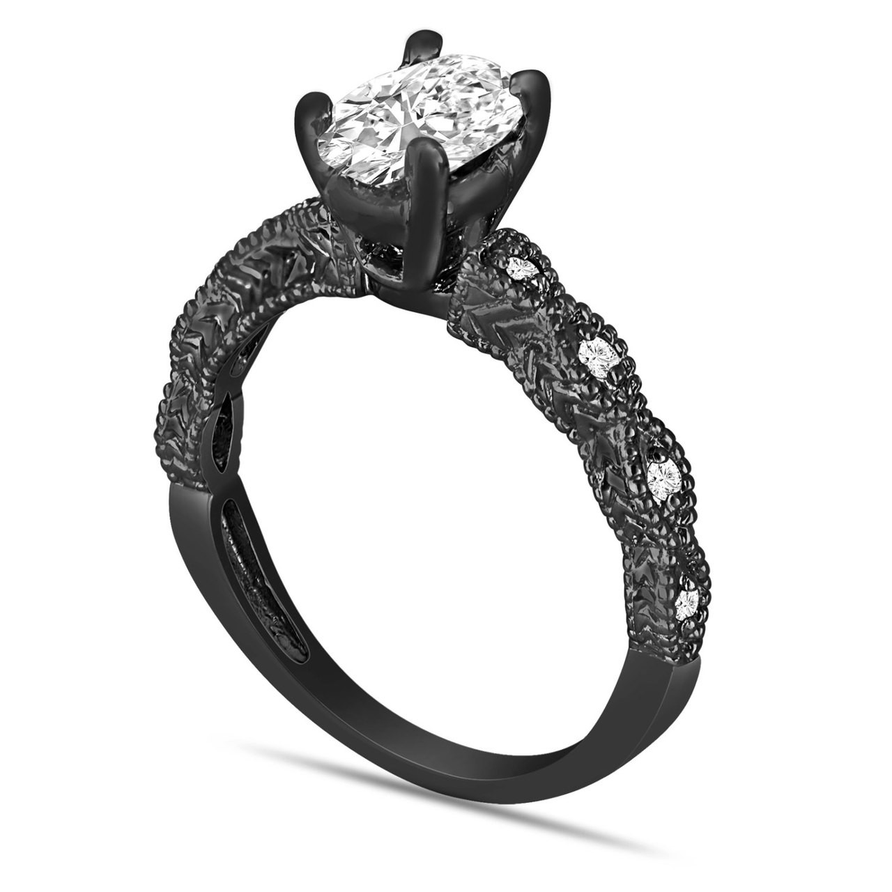 Oval Diamond Engagement Ring Egl Certified 1 08 Carat Vintage Style 14K Black