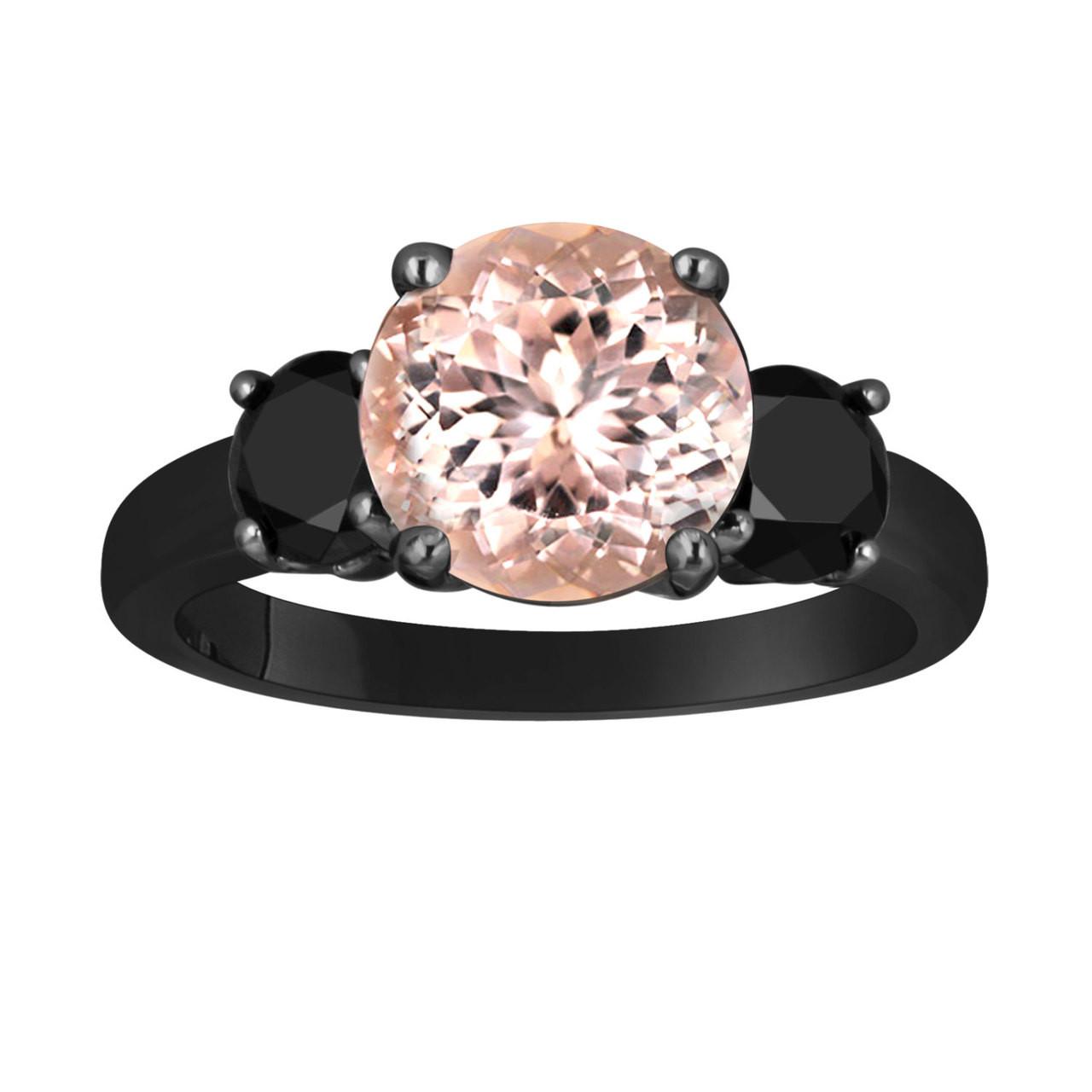 Pink Morganite and Black Diamond Three Stone Engagement Ring 14k Black Gold V