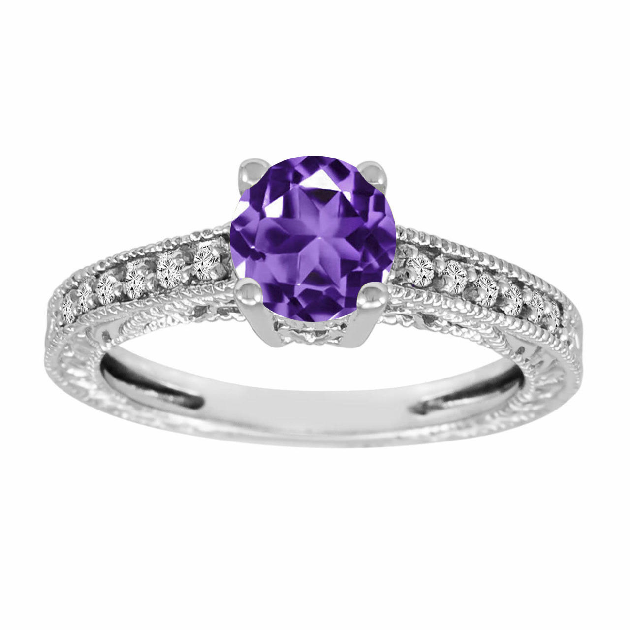 purple amethyst diamonds engagement ring 14k white gold