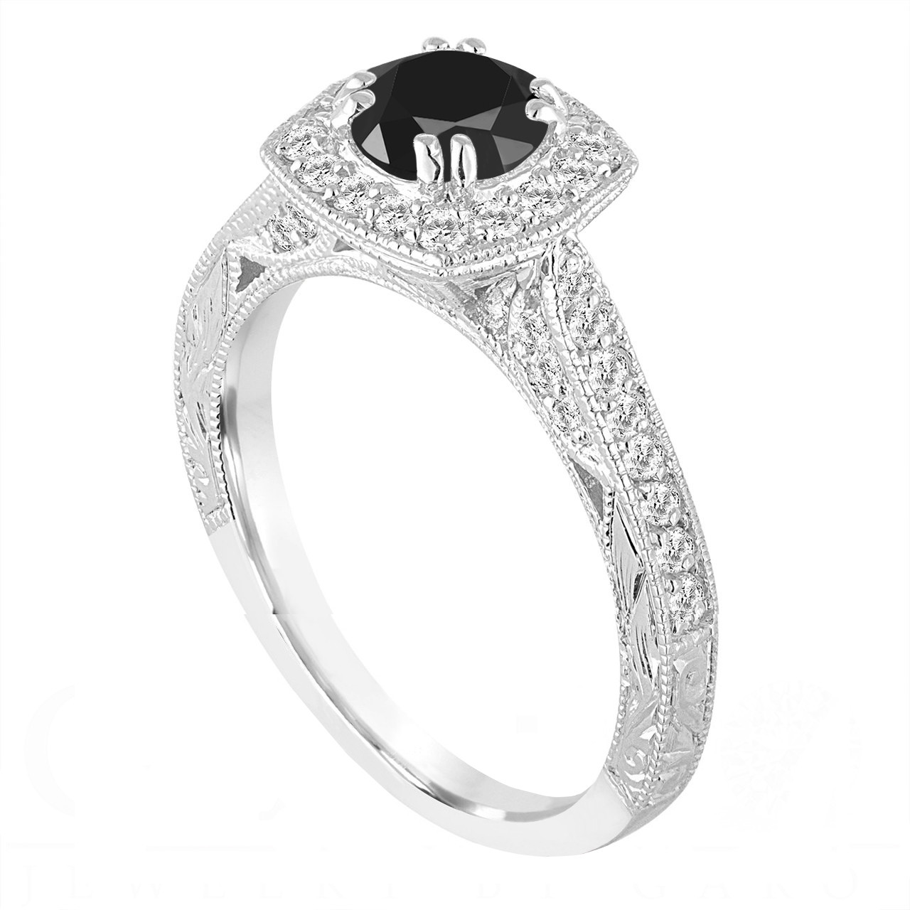 Platinum Fancy Black Diamond Engagement Ring 1 35 Carat Vintage Antique Style