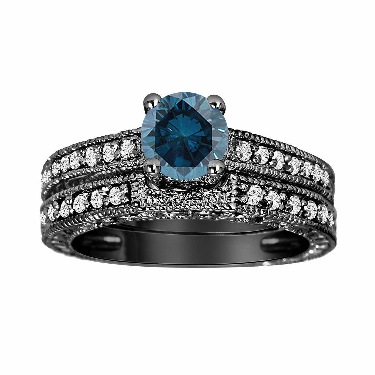Fancy Blue Diamond Engagement Ring and Wedding Band Sets 14K Black Gold 0 76