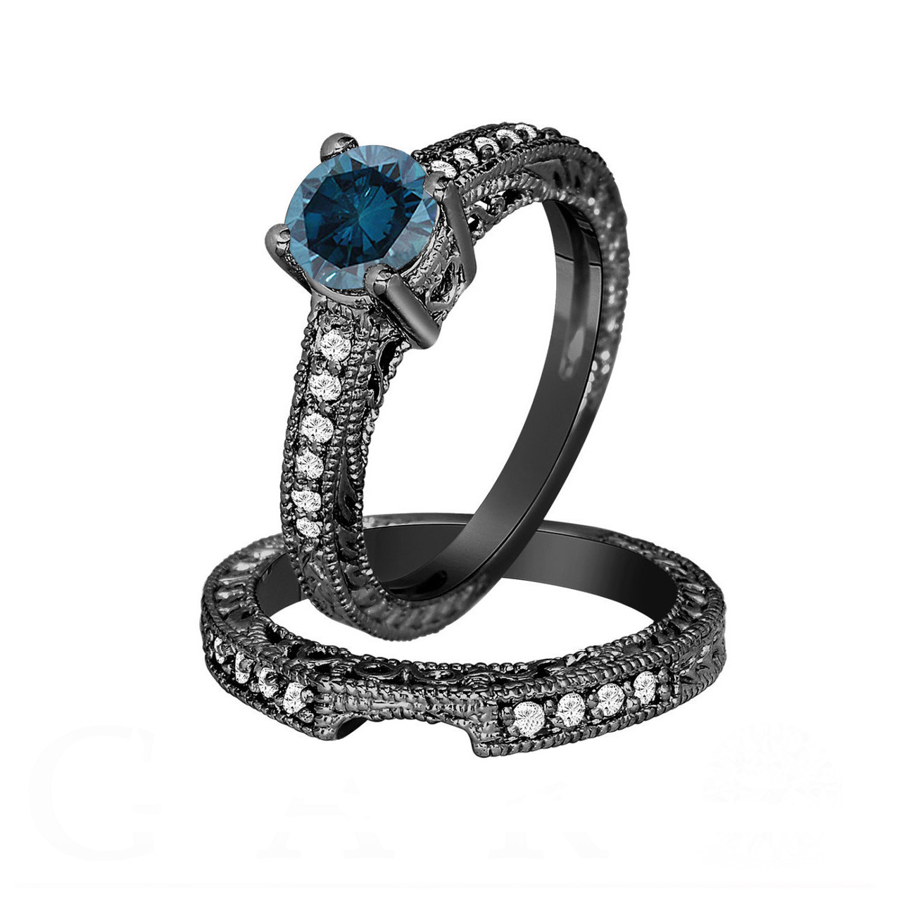 Fancy Blue Diamond Engagement Ring and Wedding Band Sets 14K Black Gold 1 26