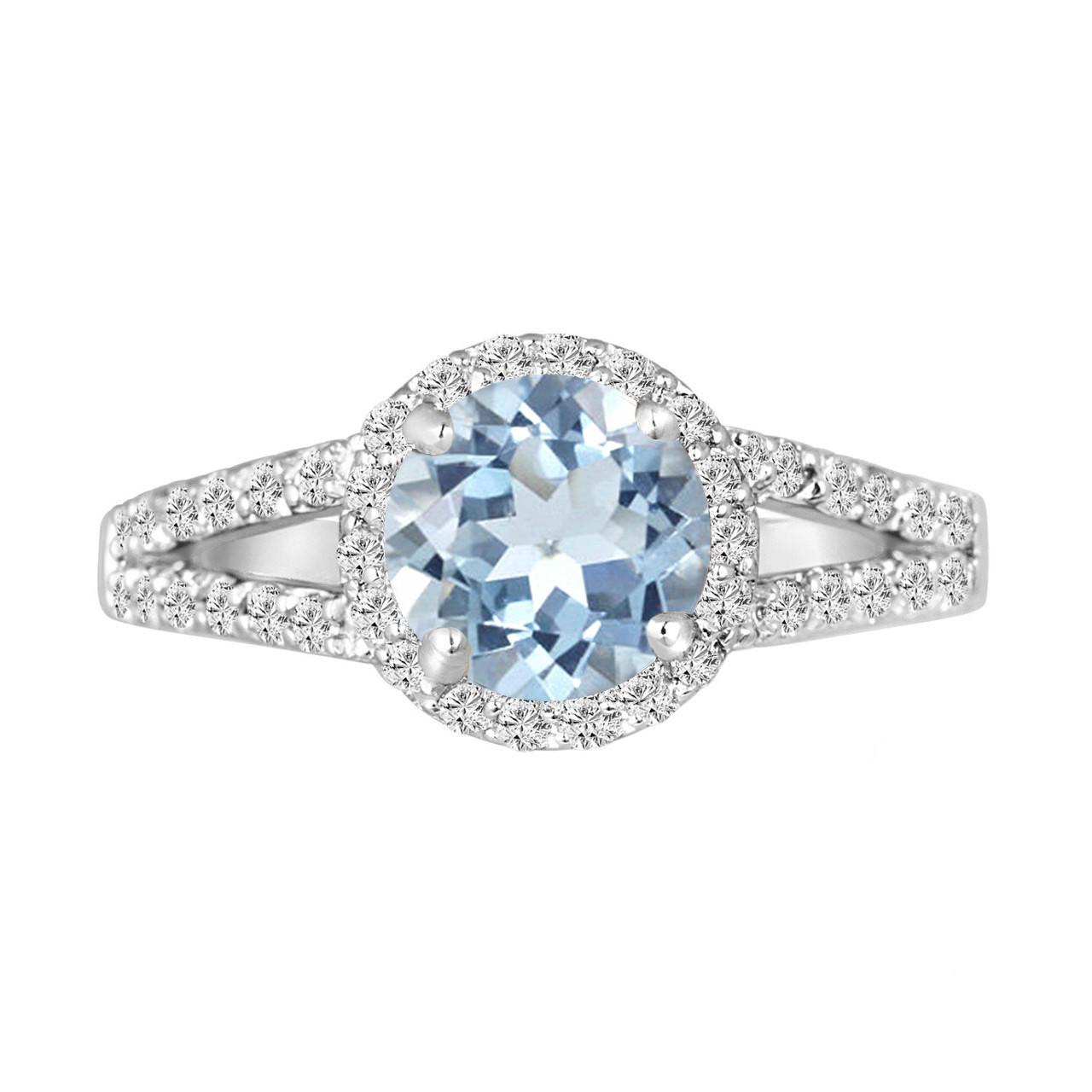 platinum aquamarine engagement ring 2 12 carat handmade