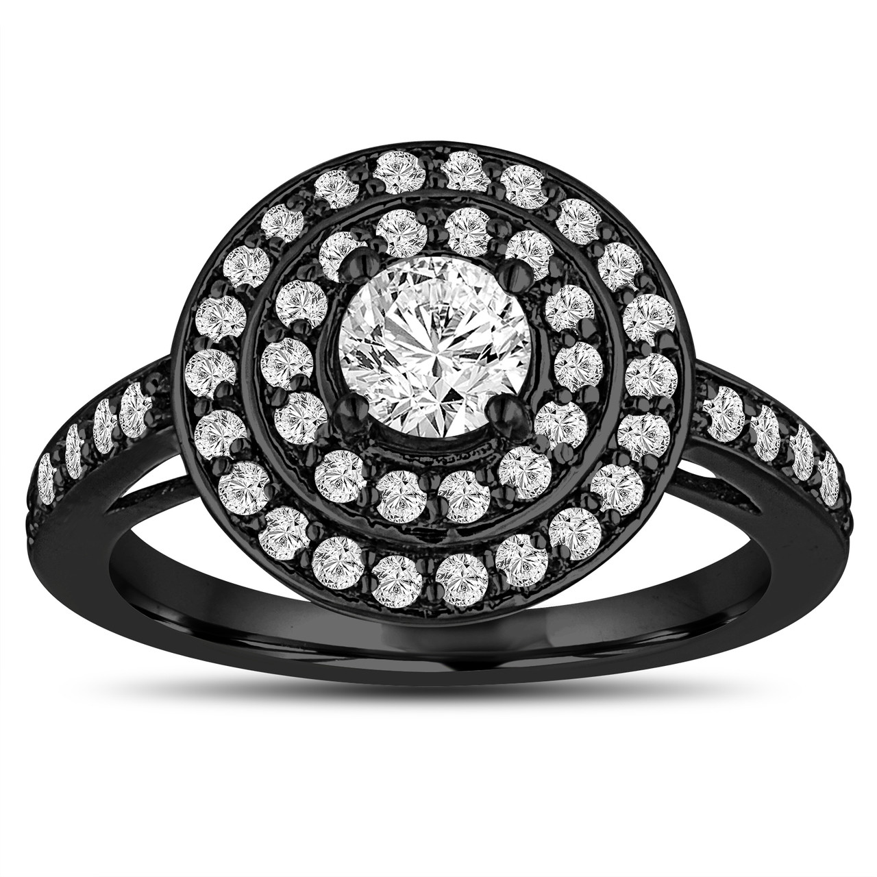 Gia Certified Diamond Engagement Ring 14k Black Gold Vintage Style 107  Carat Double Halo Pave Handmade Certified $2,95000