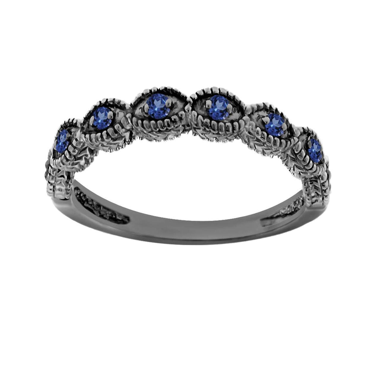 sapphire wedding band, wedding ring 14k black gold vintage antique