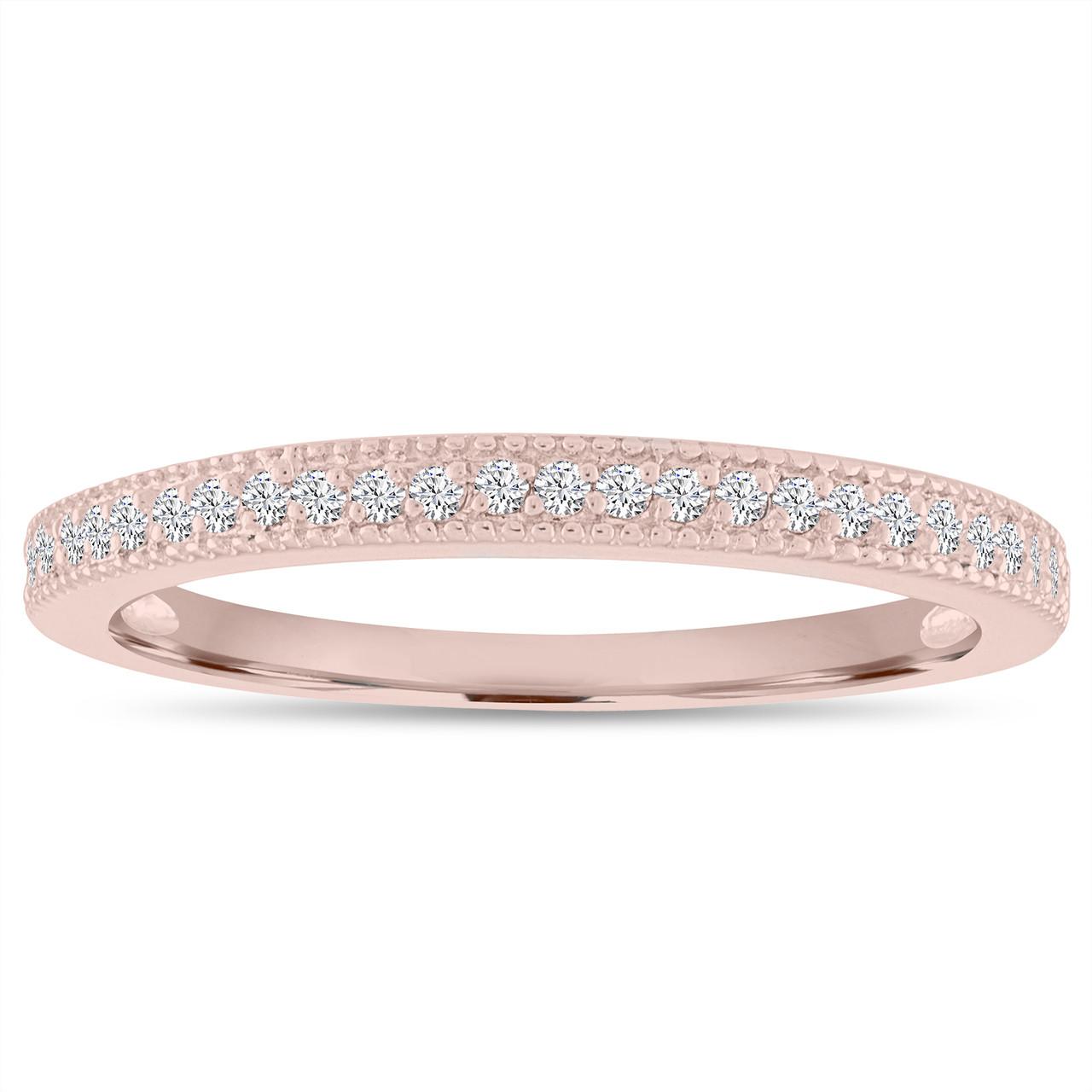 14K Rose Gold Diamond Wedding Band Wedding Ring Half Eternity Anniversary Ring Micro Pave