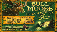 Bull Moose Lodge - Vintage Cabin Sign