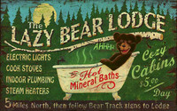 Lazy Bear Lodge Vintage Wooden Sign