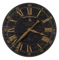 Distressed Antique Wood Clock - Black-18 in.