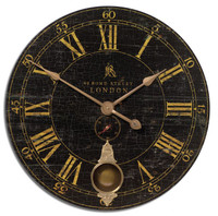 Cracked Black Paint Kitchen Clock-30 in.