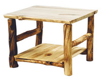 Rustic Log Corner Table, 32x32 Inches Square