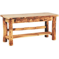 Log Sofa Table With Three Drawers, 60 Inches
