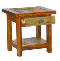 Rustic Tables - Reclaimed Wood End Table with Drawer, Barnwood