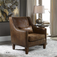 Uttermost Clay Leather Armchair