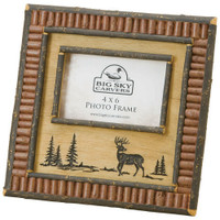 Deer and Red Twig 4x6 Rustic Picture Frame