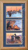 Hunkered Down, Clark Kelley Price Cowboy Art Framed Set 10x20