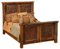 Reclaimed Barn Wood Bed with Faux Copper Inset