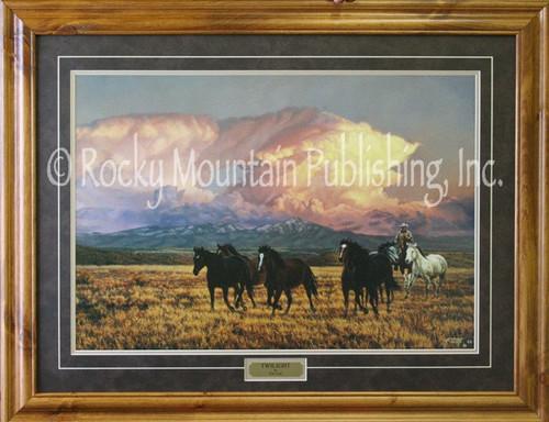 Cowboy Art Twilight Tim Cox Framed Print 16x20